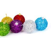 Groep kleurrijke Kerstmisballen Stock Afbeeldingen