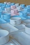 Groep koppen en platen voor het dienen Stock Foto