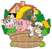 Groep landbouwbedrijfdieren royalty-vrije illustratie