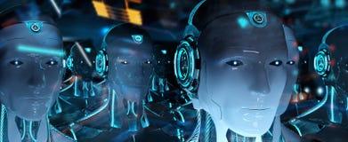 Groep mannelijke robots na leiders cyborg leger het 3d teruggeven stock illustratie