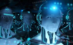 Groep mannelijke robots na leiders cyborg leger het 3d teruggeven vector illustratie