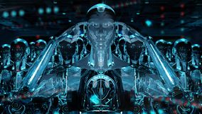 Groep mannelijke robots na leiders cyborg leger het 3d teruggeven royalty-vrije illustratie