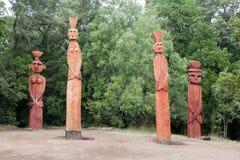Groep Mapuchean-totems bij een park in Temuco. stock fotografie