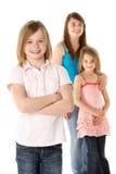 Groep Meisjes samen in Studio Stock Afbeeldingen