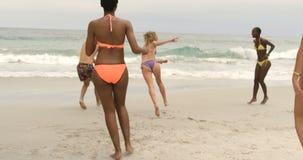 Groep mengen-rasvrienden die vliegende schijf op het strand 4k spelen stock videobeelden