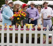 Groep mensen bij een tailgating partij stock afbeeldingen