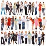 Groep mensen die over wit wordt geïsoleerd¯ Stock Afbeeldingen