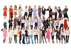 Groep mensen die over wit wordt geïsoleerde Stock Afbeelding