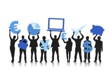Groep Mensen en Globale Financiële Concepten Stock Foto