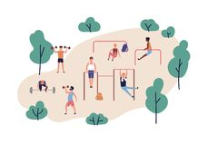Groep mensen met domoren en barbells het uitvoeren van sterkteoefeningen openlucht Mensen die het powerlifting uitoefenen royalty-vrije illustratie
