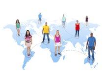 Groep Mensen met Globale Mededelingen stock illustratie