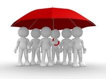 Groep mensen onder de paraplu royalty-vrije illustratie