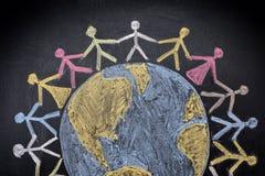 Groep mensen rond de wereld Stock Afbeelding