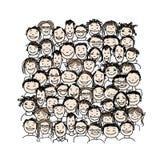 Groep mensen, schets voor uw ontwerp Stock Foto's