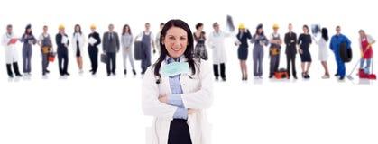 Groep mensen vooraan vrouwelijke arts royalty-vrije stock afbeelding