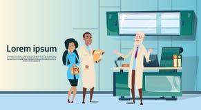 Groep Middelartsen Team Hospital Cabinet Interior vector illustratie
