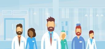 Groep Middelartsen Team Hospital Flat stock illustratie