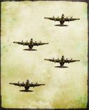 Groep militair vechtersvliegtuig in grungestijl Stock Afbeeldingen