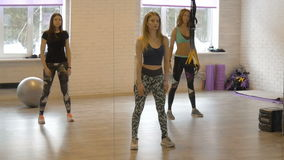 Groep mooie girls do aerobics Geschiktheid Het aantrekkelijke meisje leidt actief uw lichaam op stock footage