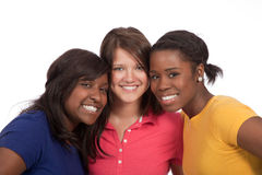 Groep mooie jonge dames op wit Stock Foto's