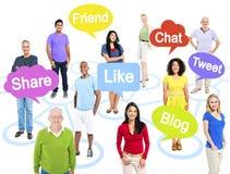 Groep Multi-etnische Mensen in een Als thema gehade Verbinding Stock Fotografie