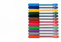 Groep multicolored pennen op een rij royalty-vrije stock foto