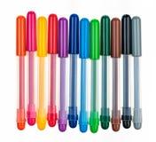 Groep multicolored pennen op een rij royalty-vrije stock afbeeldingen