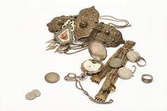 Groep oude juweel en muntstukken royalty-vrije stock foto