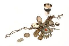Groep oude juweel en muntstukken Stock Afbeelding