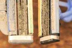 Groep oude oxyde uitstekende hulpmiddelen Sparen handmachine royalty-vrije stock foto's