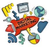 Groep Pictogrammen in Digitaal die Marketing Concept op Wit wordt geïsoleerd royalty-vrije illustratie