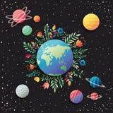 Groep planeten met bloemendecoratie royalty-vrije illustratie