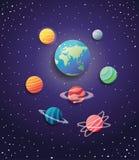 Groep planeten spacial pictogrammen royalty-vrije illustratie