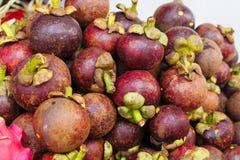 Groep rijpe mangostan vruchten Stock Foto
