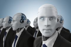 Groep robotachtige zakenman royalty-vrije illustratie