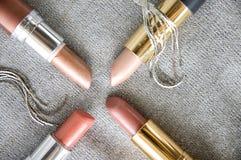 Groep roze lippenstift royalty-vrije stock afbeeldingen