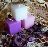 Groep roze, wit, lavendelkaarsen en welriekend mengsel van gedroogde bloemen en kruiden Royalty-vrije Stock Fotografie