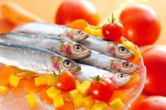 Groep sardines op verschillende groenten stock foto's