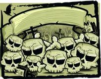 Groep schedel in sepia Royalty-vrije Stock Afbeeldingen