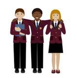 Groep schoolkind in eenvormige vlakke vector Stock Foto's