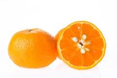 Groep sinaasappel met een stuk van de helft Royalty-vrije Stock Foto