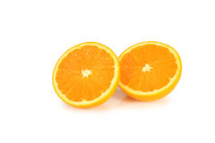 Groep sinaasappelen op wit wordt geïsoleerd dat Stock Foto