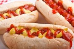 Groep smakelijke hotdogs royalty-vrije stock foto's