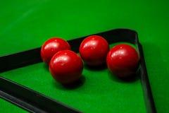 Groep Snookerbal op groene lijstachtergrond Royalty-vrije Stock Fotografie