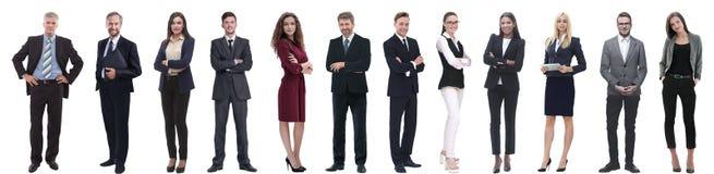 Groep succesvolle bedrijfsdiemensen op wit worden geïsoleerd stock afbeelding