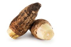 Groep Taro Root Isolated op Witte Achtergrond Stock Foto