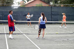 Groep tennisspelers Stock Afbeeldingen