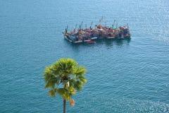 Groep Thaise vissersboten Royalty-vrije Stock Afbeeldingen