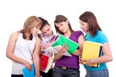 Groep tieners het bestuderen stock foto