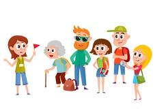 Groep toeristen die aan vrouwelijke gids, sightseeingsconcept luisteren vector illustratie